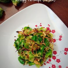Brussels Sprouts Leaves with Shallots and Crispy Parsnips