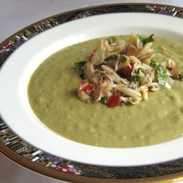 Avocado Soup with Crab Salad