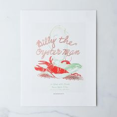 Vintage Menu Print: Billy the Oyster Man