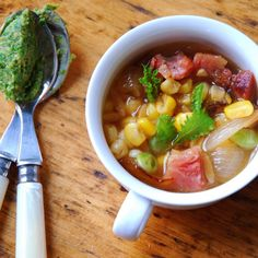 Succotash Minestrone with Mustard Green and Miso Pesto