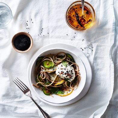 Dawn Perry's Soba Salad with Cucumbers, Soft Tofu & Quick Chile Oil