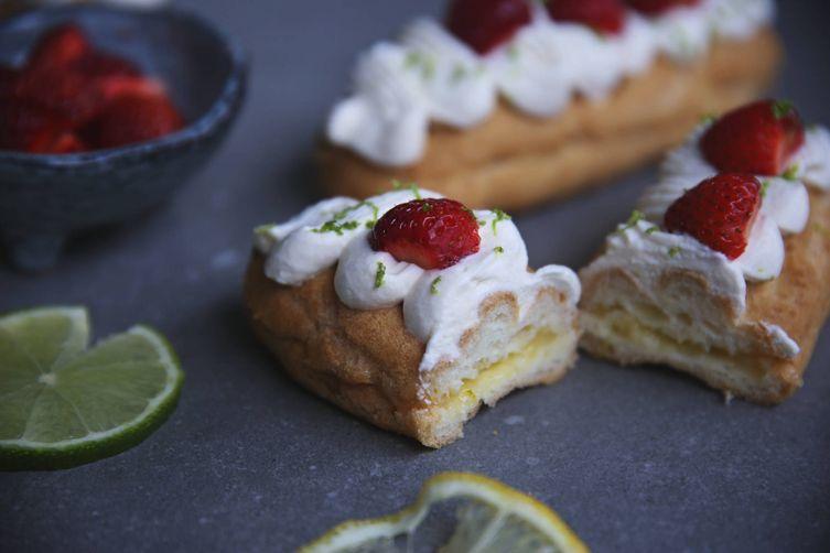 Gluten-free lemon earl grey eclairs