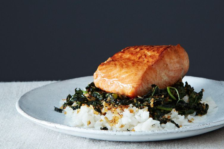 Crispy Coconut Kale with Roasted Salmon and Coconut Rice by Ashley ...
