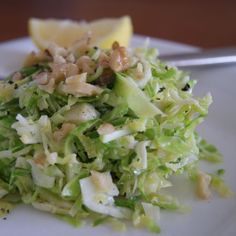 Shredded Brussels Sprouts with Walnut Oil