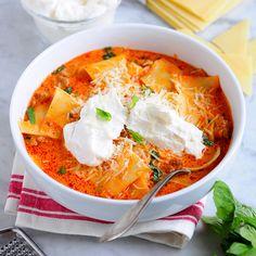 Tomato-Basil Lasagna Soup