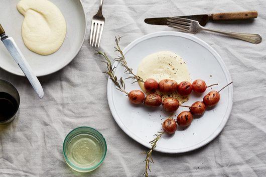Rosemary Skewered Baby Red Potatoes with Skordalia
