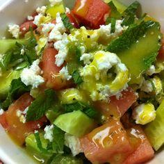 summer watermelon & cucumber salad with feta cheese