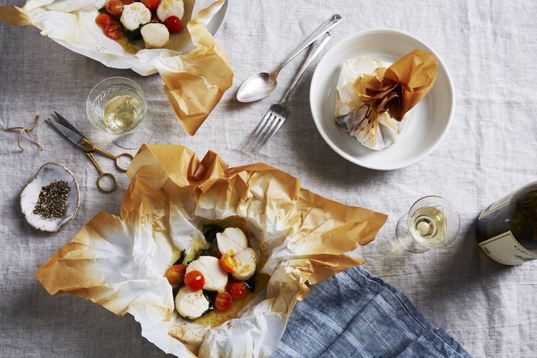 Dorie Greenspan's Butter Poached Scallops in a Pouch
