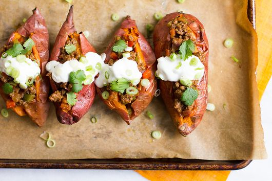 Vindaloo Sloppy Joe Stuffed Sweet Potatoes