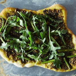 Asparagus and Arugula Pizza with Vegan Pesto