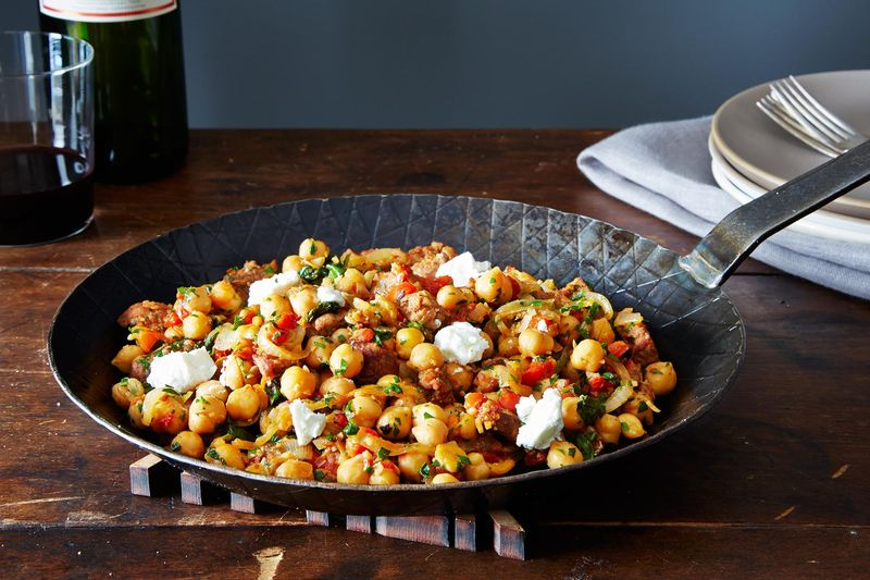 Warm pan of chickpeas, chorizo, and chèvre, anyone?