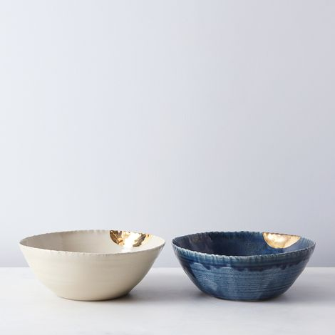 Gold-Dipped Serving Bowls