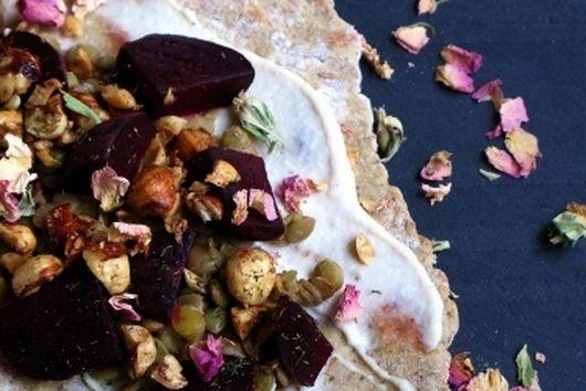 Beets, Tahini, Flatbread + Lentils