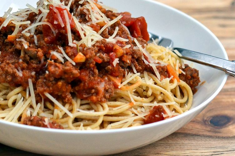 Classic Spaghetti Bolognese with Parmesan & Basil