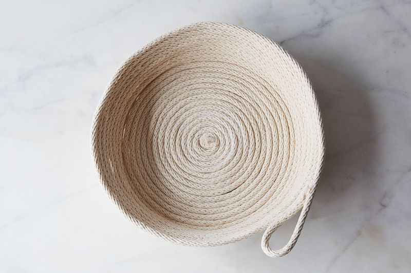 This bread basket is made from hardware store clothesline—and hot glue!