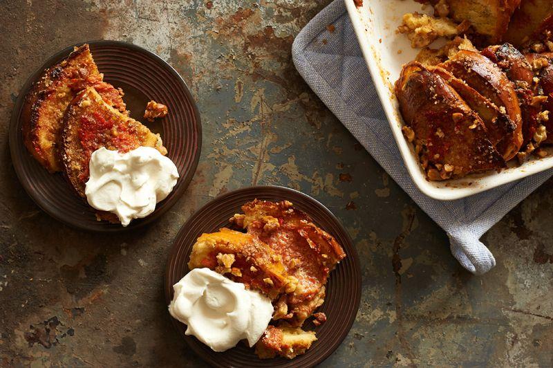 Persimmon Walnut Bread Pudding