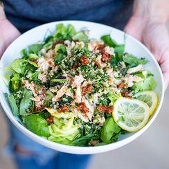 Summer Herb Salad with Fresh Crab, Quinoa Tabouleh, and Harissa Vinaigrette