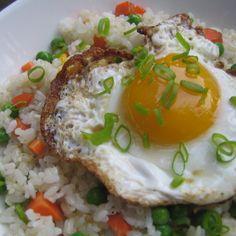 Crispy Fried Eggs on Garlic Fried Rice