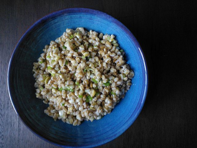 Farro Salad with Scallions, Green Olives and Preserved Lemon