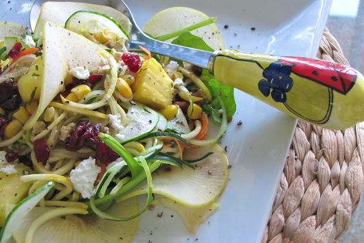 Spiral Squash and Zucchini Salad Explosion