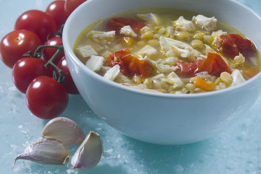 Spring Chicken and Barley Broth with Roasted Cherry Tomatoes