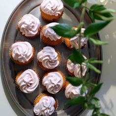 Almond Cupcakes with Strawberry Meringue Frosting
