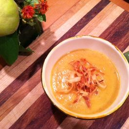 Pumpkin Apple Soup with Salsify Garnish