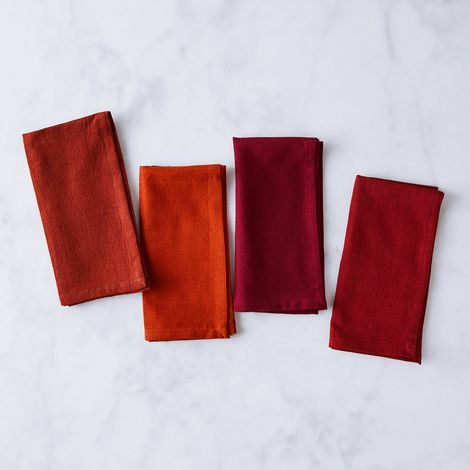 Handwoven Red Gradient Cotton Napkins (Set of 4)