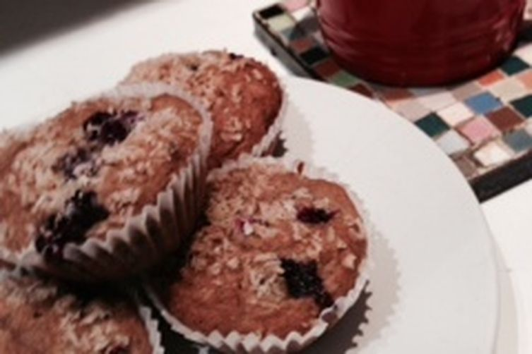 Blueberry Coconut Spelt Muffins