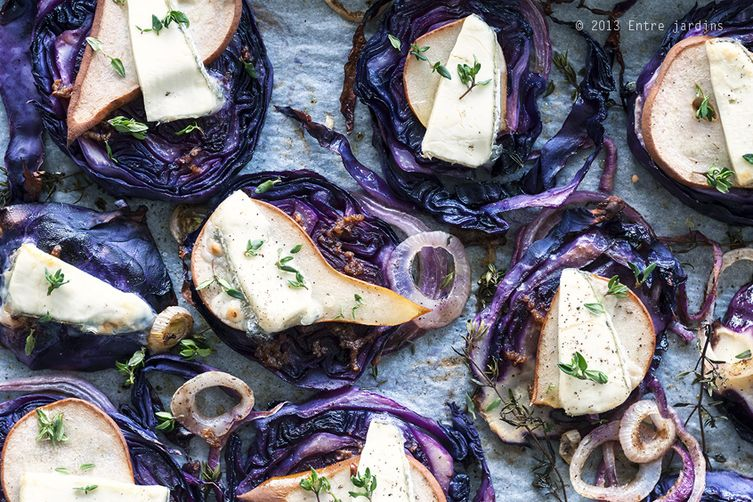 Roasted Red Cabbage with Pears & Thyme