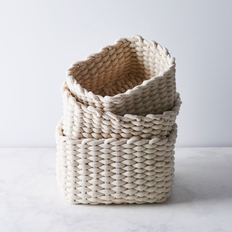 Chunky Cotton Knit Nesting Baskets (Set of 3)
