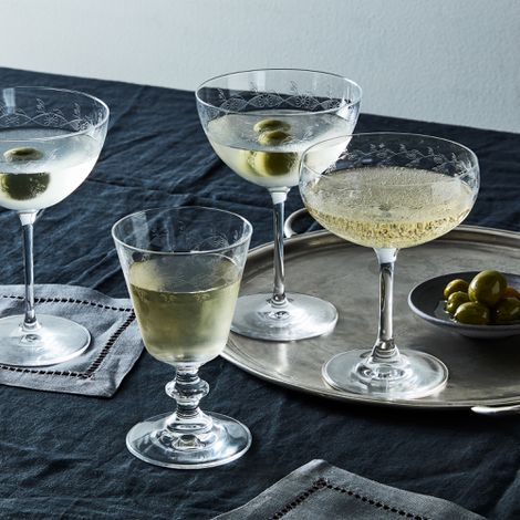 Vintage-Inspired Etched Cocktail Glasses