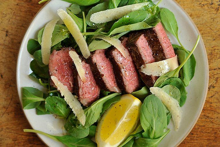 Steak with Arugula, Lemon and Parmesan