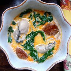 Oyster Stew with Chorizo and Spinach