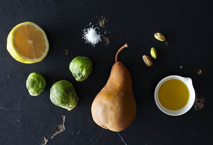 Brussels Sprouts with Roasted Pears and Pistachios