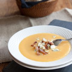 Pear Soup with Pancetta and Blue Cheese
