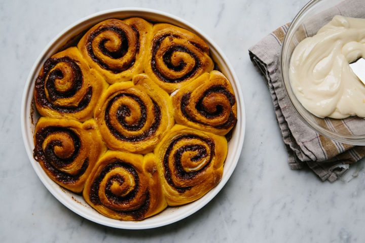 Pumpkin Cinnamon Rolls with Orange Icing