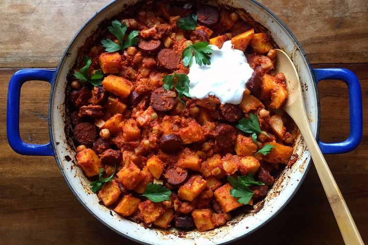 Spanish-Inspired Ragout with Butternut Squash, Chorizo, and Chickpeas