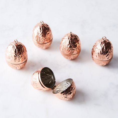 Vintage-Inspired Copper Egg Ornaments (Set of 5)