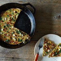 Herb, Feta, and Quinoa-Filled Frittata + Penelope Casa's Garlic Green Beans