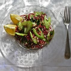 Celery-Radicchio Slaw with Celery Leaf Pesto Dressing