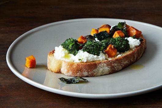 Roasted Broccoli Rabe, Sweet Potato & Ricotta Crostini