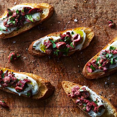 Ricotta Crostini with Spicy Kalamata Olives