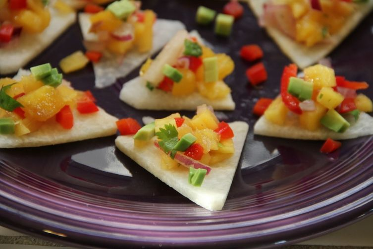 Mango Salsa on Jicama Triangles