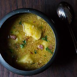 Anya von Bremzen's Potato Soup with Fried Almonds
