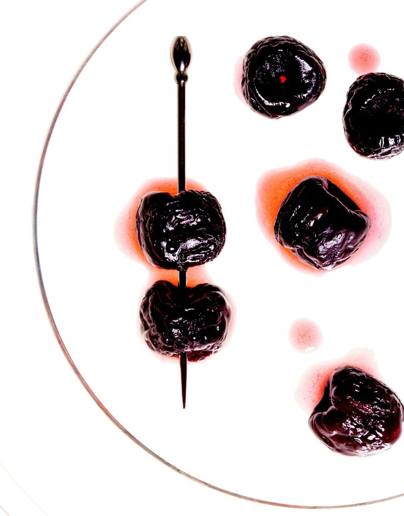 Dehydrated cherries, then soaked in vermouth, make a heck of a cocktail garnish.