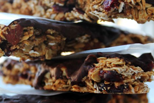 Cran-Almond Granola with Coffee-infused Chocolate Layer