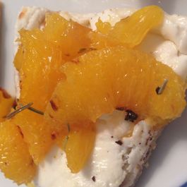 Goat Cheese Toasts with Caramelized Rosemary Oranges