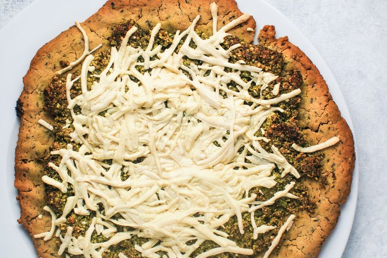 Gluten Free Pizza with Pistachio Pea Pesto