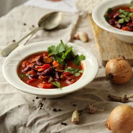Spicy red pepper and bean soup.